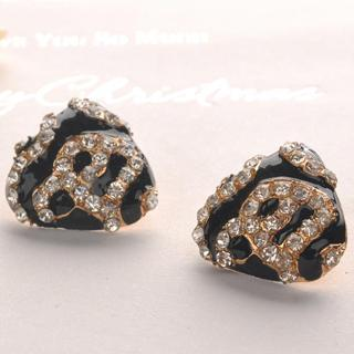 Leopard Square Earrings - Black Black - One Size