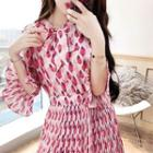 Printed Bell-sleeve Midi A-line Chiffon Dress