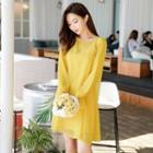 Long-sleeve Ruffled Shift Dress