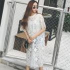 Short-sleeve Sheer Midi-dress
