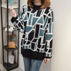 Geometric Print Oversized Sweater