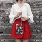 Applique Pleated Skirt