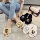 Embellished Fluffy Slippers