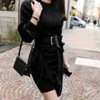 Puff-sleeve Ruffle Trim Mini Sheath Knit Dress