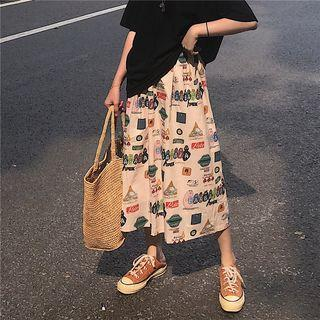 Midi A-line Printed Skirt As Shown In Figure - One Size