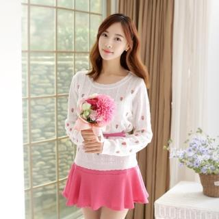 Flower Embroidered Knit Top