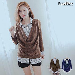 Inset Shirt Draped-front Knit Top