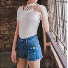 Stud-trim Washed Denim Shorts