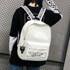 Lettering Embroidered Canvas Backpack