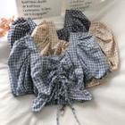 Plaid Drawstring Puff-sleeve Blouse