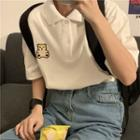Short-sleeve Bear Embroidered Polo Shirt