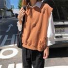 Distressed Lettering Knit Vest