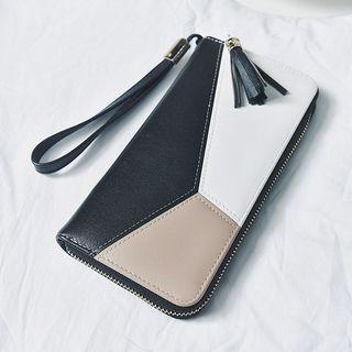 Color Block Faux Leather Long Wallet