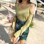 Cutout-shoulder Sheer Knit Top