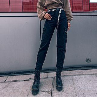 Zipper Straight-cut Cargo Jeans With Belt