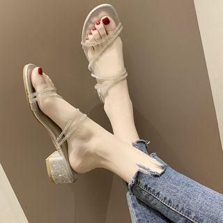 Rhinestone Strap Chunky Heel Slide Sandals