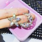 Rhinestone Moon & Star Earring 1 Pair - Earrings - Silver - One Size