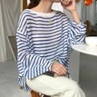 Striped Long-sleeve Sheer Knit Top
