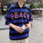 Drop-shoulder Striped Polo Shirt