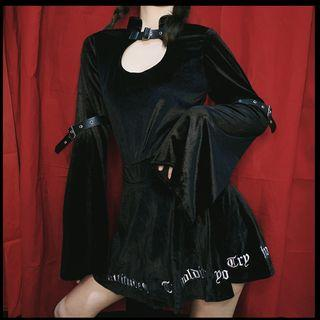 Cutout Velvet Long-sleeve Top Black - One Size
