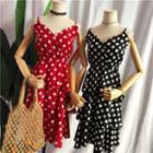 V-neck Dotted Spaghetti Strap Tiered Dress