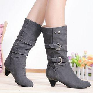 Belted Kitten-heel Mid-calf Boots