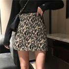 Leopard Woolen Mini Skirt
