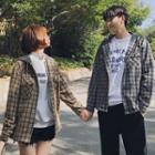 Couple Matching Plaid Hooded Zip-up Jacket