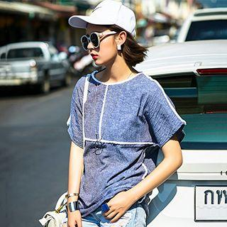 Fringed Trim Short-sleeve T-shirt