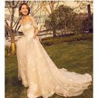 Short-sleeve Long Train Wedding Dress
