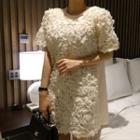 Round-neck Appliqu  Dress Ivory - One Size