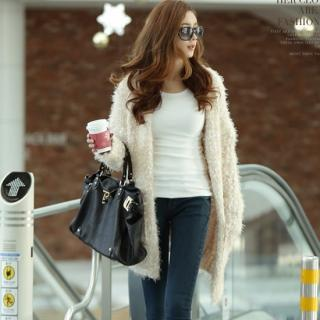 Furry-knit Long Cardigan