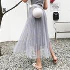 Sheer Panel Embroidered Midi Skirt