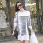 Stripe 3/4-sleeve Knit Dress