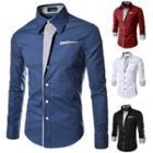 Contrast Trim Long Sleeve Dress Shirt