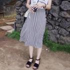 Stripe Slit-side Midi Skirt