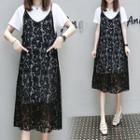 Set: Spaghetti Strap Lace Dress + Short-sleeve T-shirt Dress