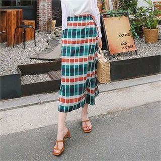 Plaid Long Surplice-wrap Skirt