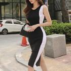 Contrast Color Sleeveless Knit Midi Bodycon Dress Black & White - One Size