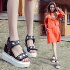 Glitter Wedged Platform Sandals