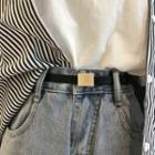 Genuine Leather Slim Belt Black - One Size