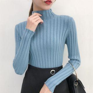 Long-sleeve Mock Neck Ribbed Top