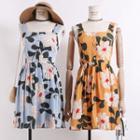 Square-neck Printed Tank Dress