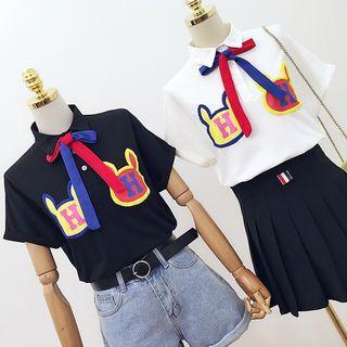 Applique Short-sleeve Polo Shirt