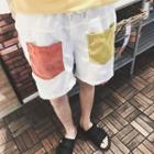 Color Block Corduroy Shorts