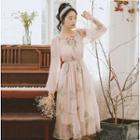 Floral Print Chiffon A-line Midi Dress