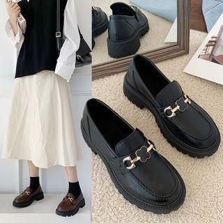 Faux Leather Buckled Platform Loafers
