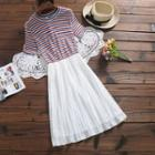 Short-sleeve Striped Knit Panel Dress