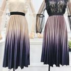 Gradient-velvet Pleated Midi Skirt