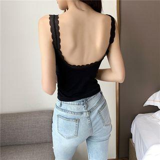 Sleeveless Lace Trim Scoop Back Top